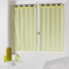 Louane Striped Chenille Yarn Voile Blind Pair with Tab Top - Lime Green