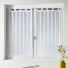 Malta Striped Voile Blind Pair with Tab Top - White
