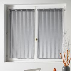 Malta Striped Voile Blind Pair with Tab Top - Silver Grey