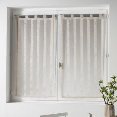 Malta Striped Voile Blind Pair with Tab Top - Cream