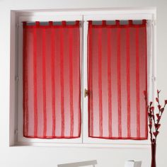 Malta Striped Voile Blind Pair with Tab Top - Red