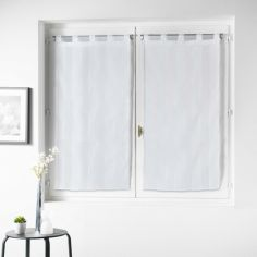 Nuage Striped Straight Voile Blind Pair with Tab Top - White