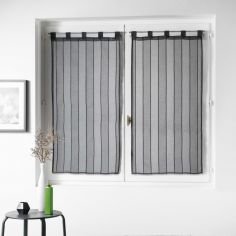 Nuage Striped Straight Voile Blind Pair with Tab Top - Charcoal Grey