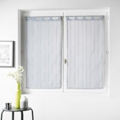 Nuage Striped Straight Voile Blind Pair with Tab Top - Grey