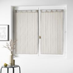 Nuage Striped Straight Voile Blind Pair with Tab Top - Hazelnut Beige