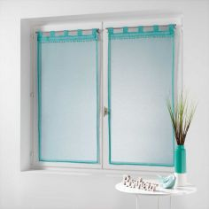 Poupette Pom Pom Voile Blind Pair with Tab Top - Turquoise Blue