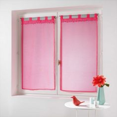 Poupette Pom Pom Voile Blind Pair with Tab Top - Coral Pink