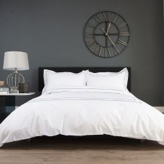 Montpellier 100% Cotton Duvet Cover Set - White & Grey