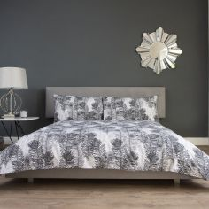 Peacock Feather 100% Cotton Duvet Cover Set - Grey