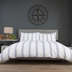 Toulouse Striped 100% Cotton Duvet Cover Set - White & Grey