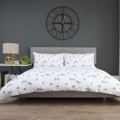 Flock 100% Brushed Cotton Flannelette Duvet Cover Set - White & Grey