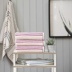 Hanover Striped 100% Cotton 550GSM Towel - Pink