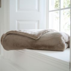 Bolingbroke Soft Fleece Throw - Stone Beige