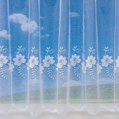 Floral Swirl 4160 White Net Curtain