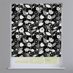 Nordic Flowers Noir Black Roman Blind