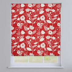 Nordic Flowers Scarlet Red Roman Blind