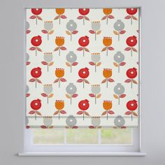 Pomegranate Scarlet Red Modern Floral Roman Blind
