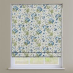 Hampton Dusk Blue Traditional Floral  Roman Blind