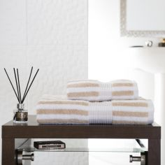 Bliss Stripe 100% Cotton 600 GSM Towel - Biscuit Beige