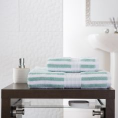 Bliss Stripe 100% Cotton 600 GSM Towel - Spearmint Green