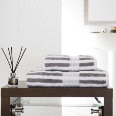 Bliss Stripe 100% Cotton 600 GSM Towel - Slate Grey