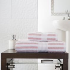 Bliss Stripe 100% Cotton 600 GSM Towel - Pink