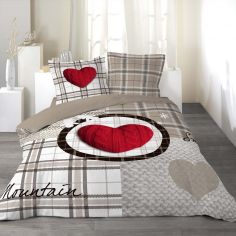 Love Mountain 100% Cotton Duvet Cover Set with Check Print - Natural & Red