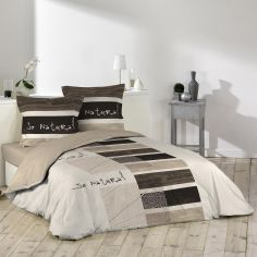 So Natural 100% Cotton Duvet Cover Set - Cream & Brown