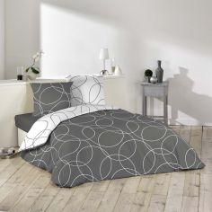 Elton Reversible Duvet Cover Set with Circle Print - Grey & White
