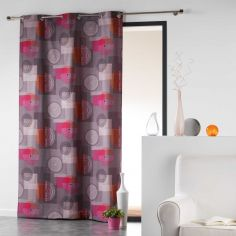 Calypso 100% Cotton Multi Coloured Geometric Ready Made Single Eyelet Curtain Panel - Orange & Brown