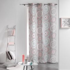 Disco 100% Cotton Geometric Ready Made Single Eyelet Curtain Panel - Pink & Mint Green