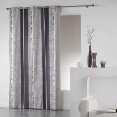 Felini 100% Cotton Modern Striped Ready Made Single Eyelet Curtain Panel - Plum Purple