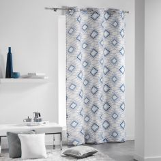Folio 100% Cotton Jacquard Geometric Ready Made Single Eyelet Curtain Panel - Blue