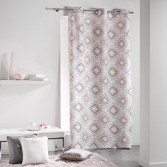 Folio 100% Cotton Jacquard Geometric Ready Made Single Eyelet Curtain Panel - Pink