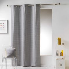 Galactic 100% Cotton Simple Geometric Ready Made Single Eyelet Curtain Panel - Grey