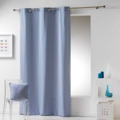 Galactic 100% Cotton Simple Geometric Ready Made Single Eyelet Curtain Panel - Blue