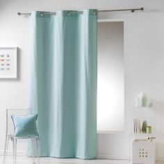 Galactic 100% Cotton Simple Geometric Ready Made Single Eyelet Curtain Panel - Mint Green