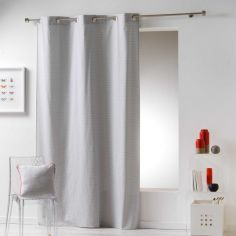 Galactic 100% Cotton Simple Geometric Ready Made Single Eyelet Curtain Panel - Silver Grey