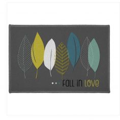 Leafy  Fall In Love Printed Rectangular Mat -  Grey
