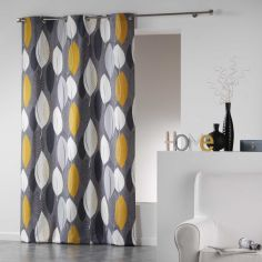 Leafy 100% Cotton Ready Made Single Eyelet Curtain Panel  - Ochre & Grey