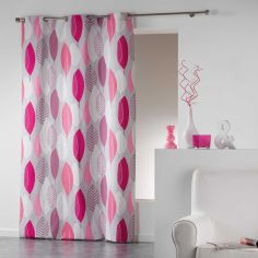 Leafy 100% Cotton Ready Made Single Eyelet Curtain Panel  - Pink