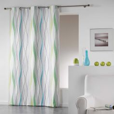 Ondulys Striped 100% Cotton Ready Made Single Eyelet Curtain Panel  - Blue & Green