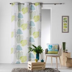 Palmaris Leaves 100% Cotton Ready Made Single Eyelet Curtain Panel  - Blue