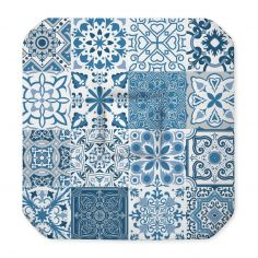 Persane Patchwork Polyester Seat Pad With Flaps - Blue