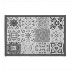 Persane Patchwork Rectangular Door Mat - Silver Grey