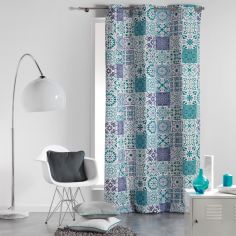Persane Patchwork 100% Cotton Ready Made Single Eyelet Curtain Panel  - Blue