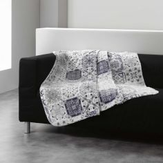 Persane Patchwork Fleece Blanket Throw - Silver Grey