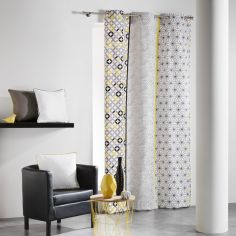 Remix Geometric 100% Cotton Ready Made Single Eyelet Curtain Panel  - Grey & Ochre Yellow