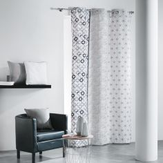 Remix Geometric 100% Cotton Ready Made Single Eyelet Curtain Panel  - Charcoal Grey