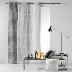 Textilio Stripes 100% Cotton Ready Made Single Eyelet Curtain Panel  - Grey